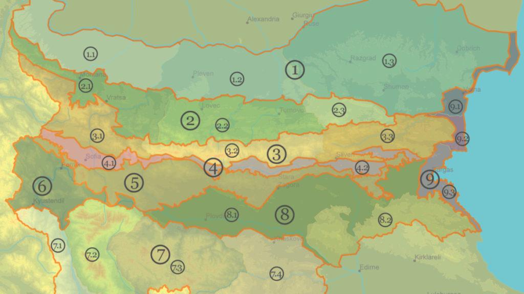 Физикогеографски зони и области, Физикогеографски зони и области, OC Stoyanov
