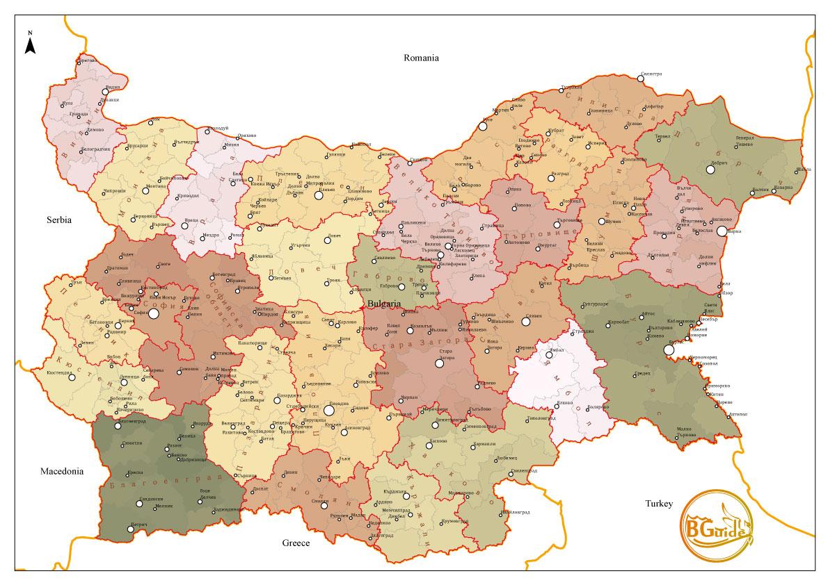 Vektoren Fajl Na Oblastite Obshinite I Gradovete Na Republika
